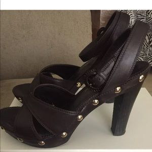 YSL BROWN LEATHER HEELS SIZE 9